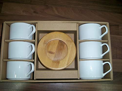 Home Decor Studio Kaffeetassen-Set, Keramik, mit Bambus-Tellern, Weiß, 6 Stück