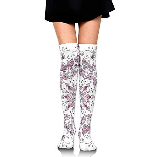 OQUYCZ Women Lacy Pastel Floral with Butterfly and Lotus Figures Meditation Soft High Boot Socks