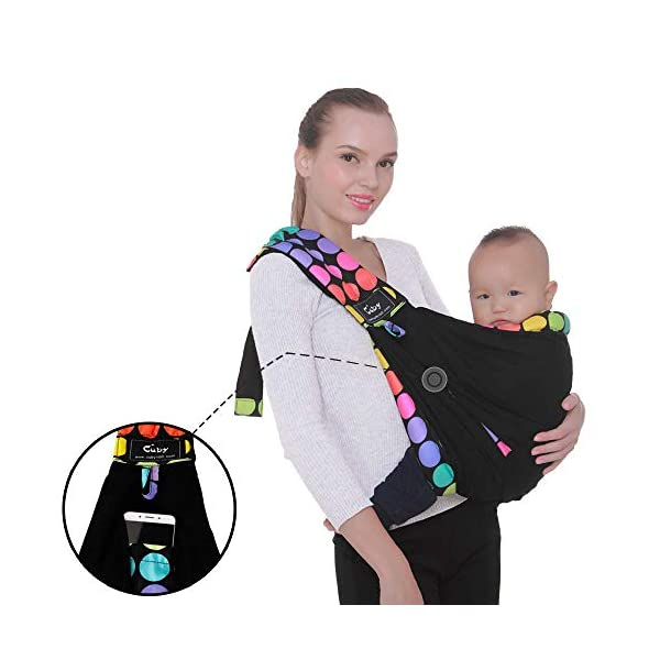 Cuby Baby Slings Carrier for Newborns and Breastfeeding (Black Dot) CUBY Durable Weight Baby Sling:Designed to carry babies who are 0 to 36 months old and weighing no more than 44 pounds. Five Different Carrying Positions: Including two perfect and convenient for breastfeeding. Cuby's baby carrier allows you to carry your baby in the same position they used in the womb, gives your baby a familiar sense of security and makes it easy for you to enjoy eye contact to bond with your new bundle of joy. Premium Cotton: The baby carrier by Cuby is made of 100% high quality cotton. It is soft, skin-friendly and breathable. 3