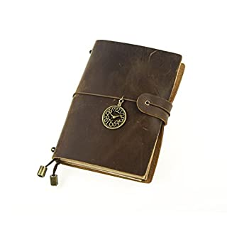 Unique HM&LN Personal Organiser Leather Diary Planner Journal Notebook - Academic Monthly & Daily - Achieve Goals - Improve Productivity - Refillable & Handmade - Gratitude & Passion Gifts 2019