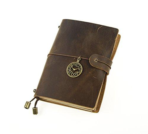 UNIQUE HM&LN Véritable Journal en cuir Classique Carnet Rechargeable, 100% fait à la main, Vintage, Aux Utilisateurs De Stylos-Plumes, Idéal À L'Écriture,Personnalisée, Cadeau pour