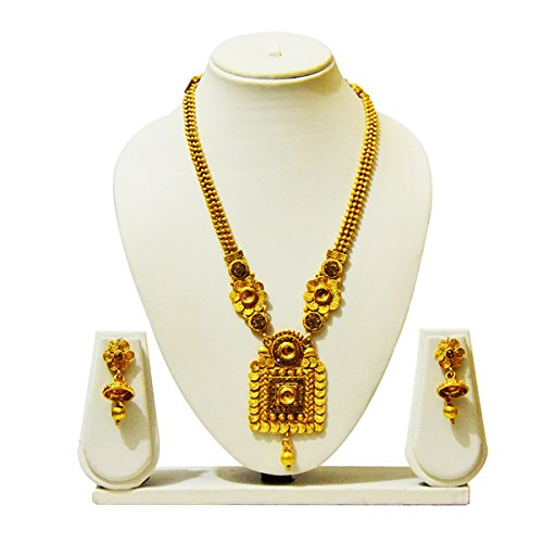 KailasMegha Gold Plated Necklace Set With Earrings For Women