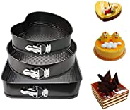 Baking Pan Mold Set 3Pcs Durable Non-stick Leakproof Cake Pan Bakeware with Quick Release Latch and Removeable