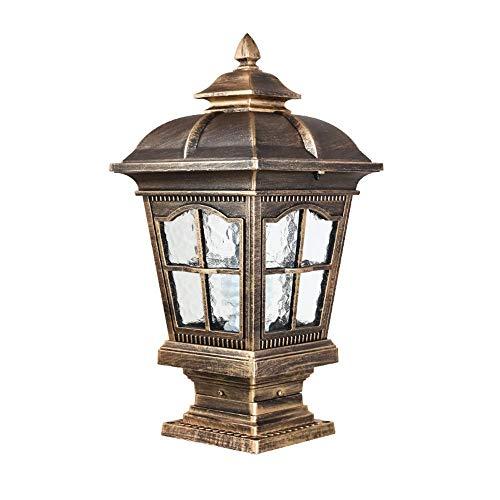 Wetterfeste Gartenlandschaft 240V Außen Säule Lichtsäule Wasserdicht Glas Laterne Licht Silhouette Rasen Säule Outdoor-Lampe Post Passage Korridor Straße Zaun Tisch [Energieklasse A] -