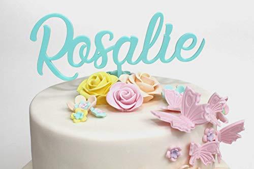 Ethelt5IV Personalisierte Cake Topper mit Namen nach Maß Acryl Cake Topper für Geburtstag Taufe Abschlussfeier Dekorationen benutzerdefinierte Rose Gold UK