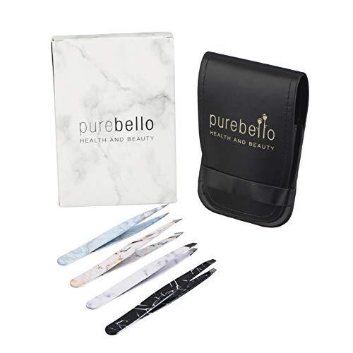 Marmor Pinzetten Set - 4-teilig - 100% rostfreies Edelstahl - mit Kosmetiktäschchen ß 5 Jahre Garantie - Purebello Qualitätsprodukt