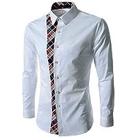 Zombom Cotton 4 Variations Colour Men's Casual Shirt (White, 38)