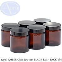 PACK of 6 - 120ml AMBER GLASS Jars with BLACK Lids for Essential Oil / Aromatherapy Use preisvergleich bei billige-tabletten.eu