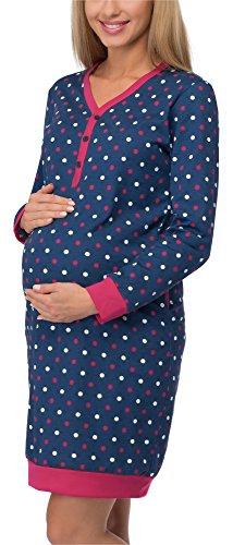 Cornette camicia da notte premaman 606 (blu scuro/pois, xl)