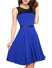 Zeagoo Damen Ärmellos Kleider Spitzenkleid Knielang Ballkleid Festliches Kleid  Abendkleid Partykleid A-Linie… 9414fbc06c