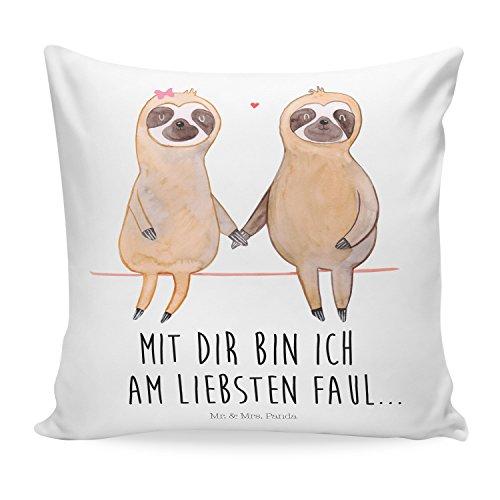 Mr. & Mrs. Panda Kissenhülle, Sofakissen, 40×40 Kissen Faultier Pärchen mit Spruch – Farbe Weiß