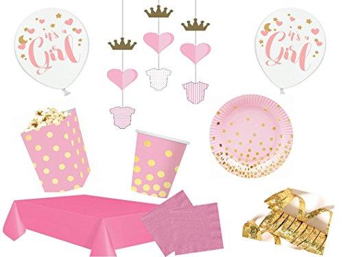Partydekoset Babyparty Baby Shower Mädchen rosa gold für 12 Personen Pullerparty Baby Geburt Babyparty Komplettset Tischdeko Party Geschirr