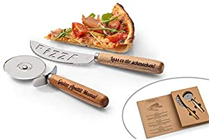 SNEG Pizza-Schneide-Set mit Gravur (Pizzamesser + Pizzaschneider) inkl....