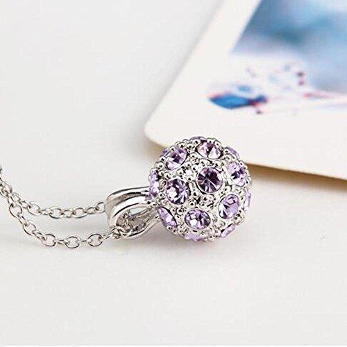 DUUMY Femmes Boule de Cristal de la Mode Avec la Chaîne Boîte à Bijoux Multicolores Clavicule purple