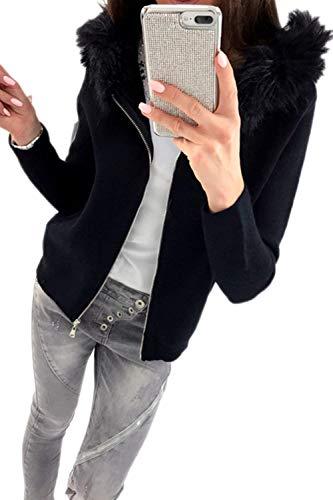 Emmay Frauen Casual Schlicht Faux Vermummt Pelz Zip Up Sweatshirt Hoodies Langarm Party Stil Mit Zipper Jacke Outerwear Herbst Winter Mädchen (Color : Schwarz, Size : XL)