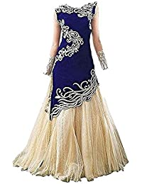 Ujas Enterprise Girl's Bangalori Silk Semi-stitched Lehenga Choli (8-12 Year, Free Size)