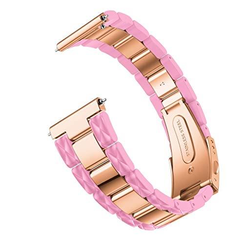 Vamoro Edelstahl Schnellverschluss Easy Fit Armband Ersatz Uhren-Armband Edelstahl Metall Uhrenarmband für Samsung Galaxy Watch 42mm(Rosa)