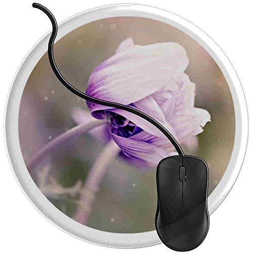 Mauspad Anemonenblume Violett Männer Frauen Jungen Mädchen, Runde Gaming Mauspad Matte Reibungslos Weich Rutschfester Gummi Basis für PC Laptop 1U461