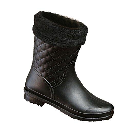 YOUJIA Damen Plaid Mid-Calf Regenstiefel Gummistiefel Garten Stiefel mit Warme Socken Futter (Schwarz/Socken Futter, CN 38) -