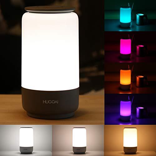 Nachttischlampe, HUGOAI Tischleuchte Nachtlicht Baby Kinder & LED Nachtlampe, Stilllicht Dimmbar mit Farbtemperatur & RGB Farbwechsel, Schlummerlicht Stimmungslicht für Kinderzimmer Schlafzimmer