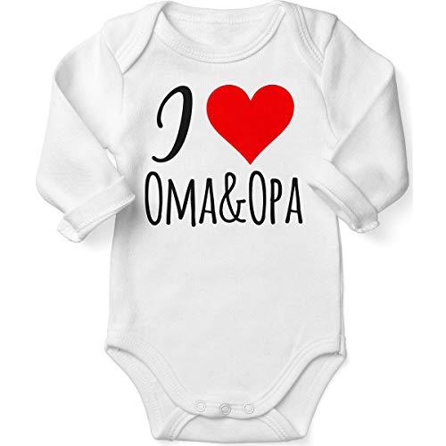 Mikalino Babybody mit Spruch für Jungen Mädchen Unisex Langarm I Love Oma & Opa   handbedruckt in Deutschland   Handmade with Love, Farbe:Weiss, Grösse:62 (Oma-baby-kleidung)