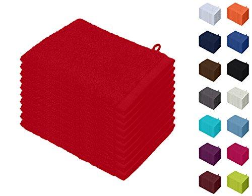 10er Pack Waschhandschuhe, Waschlappen Größe 15x21 cm in Rot 100% Baumwolle