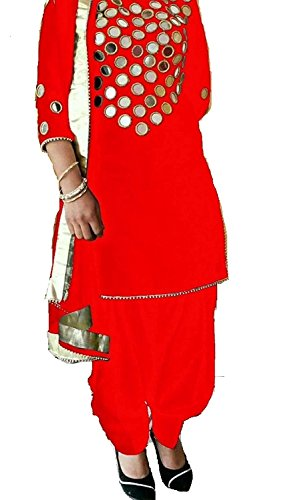 Marvadi Collection Red Original Mirror work Salwar suit Patiala Suit