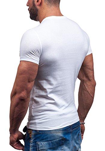 BOLF Herren T-shirt Figurbetont Kurzarm Camo Tee Outfit Fashion Modern Men's Man Fit Design New Top Sommer Rundhalsausschnitt Motiv 7452 Weiß