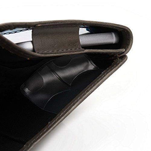 Kroo Portefeuille unisexe avec Huawei Ascend y221/Honor Bee ajustement universel différentes couleurs disponibles avec affichage écran noir - noir Gris - gris