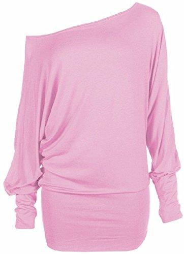 Hot Hanger® Damen Top Schulterfrei Tunika Langarm Batwing Top Größe EU 36-42 : Farbe: Baby Pink : Größe: 12-14 (ML)