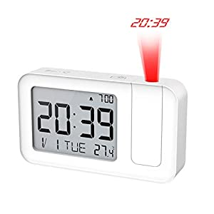 MoKo Projection Alarm Clock, Multiple Functional Smart Alarm Clock with Time Projection, Snooze, Calendar, 12/24H and ℃/℉ Switch Function, Adjustable Alarm Volume, Powered by USB or Battery - White