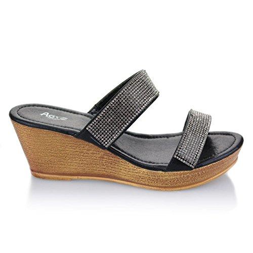 Femmes Dames Double Sangle Diamante Glisser sur Talon compensé Soir Décontractée Fête Bal de promo Mariage Des sandales Chaussures Taille Noir