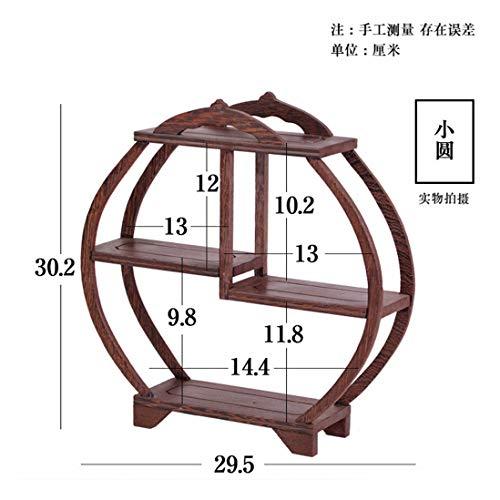 GWDecor Antik Redwood Regal Chinesisch Traditionelle Handmade Geschnitzt Wenge Möbel Creative Home Retro Dekor Schmuck Storage Kleine Runde Form