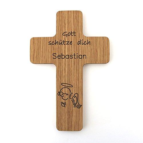 Taufkreuz mit Namen Kinderkreuz aus Holz Holzkreuz Gravur Schutzengel zur Taufe als Taufgeschenk für Taufpate für Mädchen Junge personalisiert mit Name Geschenk zur Geburt, Eiche