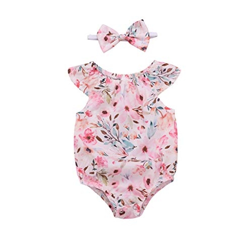 JiaMeng Neugeborenes Baby Mädchen Floral Baumwollspielanzug Haarband Bodysuit Kleidung Sets