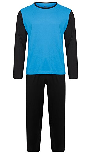 Herren Nachtwäsche PJ Pyjama Satz Zweiteiliger schlafanzug Nacht Tragen 100% Baumwolle - Schwarz / Königsblau - XXX-Large (Pj Baumwolle Herren)
