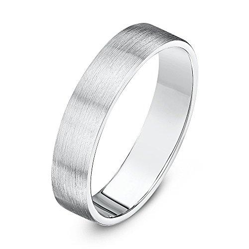 Theia Ehering Sterling Silber 925 sehr massiv - Flach Ovale Form - Mattiert 4mm - Größe 59 (18.8)