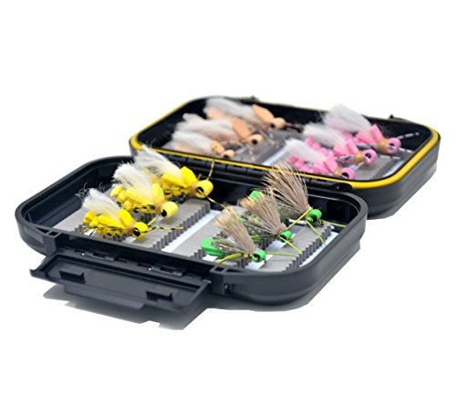 Outdoor Planet Wasserdichte Fly Box mit Trocken/Nass/Nymphe/Streamer Fliegenfischen Fliegen Lure, 12 Foam Hopper Collection + Black Waterproof Box -