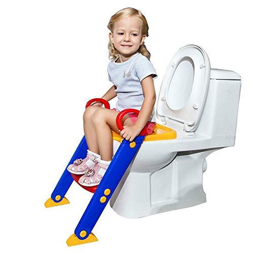 Angel Toilettenkindersitz, zusammenklappbarer Trittleiter, verstellbare Baby-Leiter-Toilette, zusätzlicher Kissenbezug, zur Verwendung in einem Familienbadezimmer geeignet (Töpfchen Stuhl Griffe)
