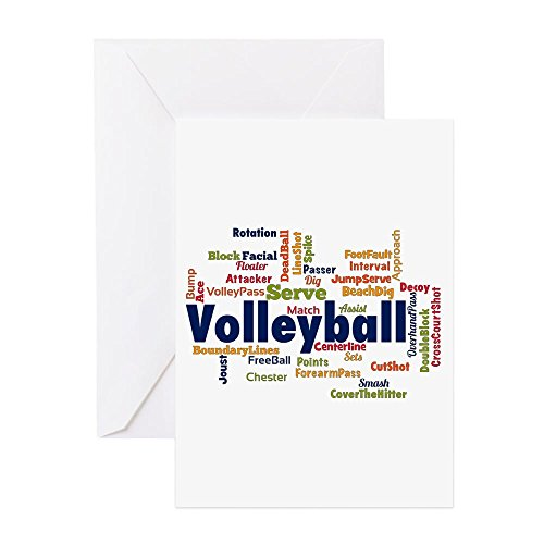 CafePress - Volleyball-Grußkarten - Grußkarte (10-er Pack), Notizkarte mit blanko innen, Geburtstagskarte, glänzend - Strand Paper Pack