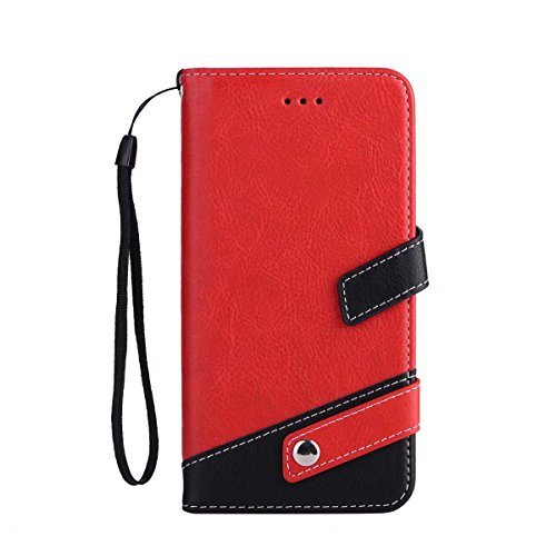 JIALUN-Telefon Fall Case Cover Flip Stand Case mit Lanyard & Card Slots für iPhone 7 Plus ( Color : Black ) Red
