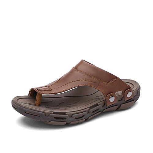 Herren Leder Sandalen angenehm zu tragen langlebig und rutschfest Sommer Mode Flip Flops light brown