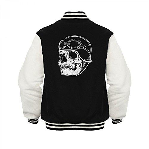 Fashionalarm Herren College Jacke - Totenkopf Biker | Varsity Baseball Jacket | Sweatjacke mit Totenschädel als Geschenk Idee für Biker & Rocker Schwarz / Weiß