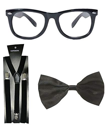 Islander Fashions Black Geek Austin Sonnenbrillen Hosentr�ger Fliege Nerd Kit Kost�mzubeh�r (Schwarze Sonnenbrille + Hosentr�ger + Fliege) One Size