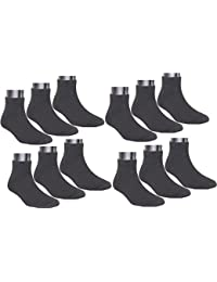 Neska Moda Men's Cotton Black & White 12 Pair Ankle Length Socks