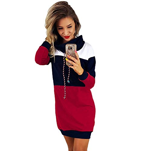 Robe Sweat à Capuche Color Block,Overdose Manches Longues Oversize Robe Sweat Longue Casual Pullover Hoodie Dress (42, Rouge)