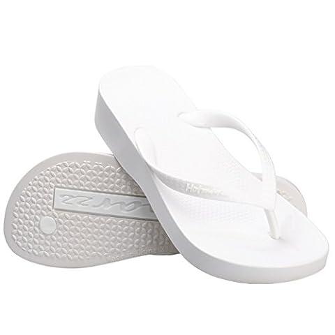 Hotmarzz Mules Talon Haut Compensées Tongs Sandales d'ete Femme Plateforme Chaussure Plage Pantoufle Mode Piscine Size 38 EU,Blanc
