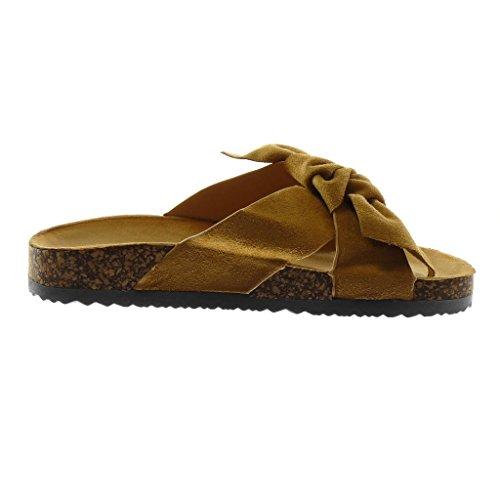 Angkorly Chaussure Mode Sandale Mule Slip-On Femme Noeud Liège Talon Compensé 2.5 cm Camel