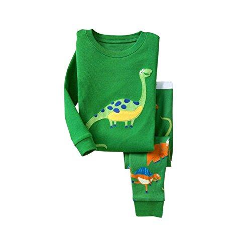 Pyjamas Jungen IHRKleid® Dinosaurier Drucken Pyjamas Langarm Schlafanzuge Set 2-7 Jahren (98, 3 Jahren, Grün) (Jungen Fleece Pyjama-hosen)