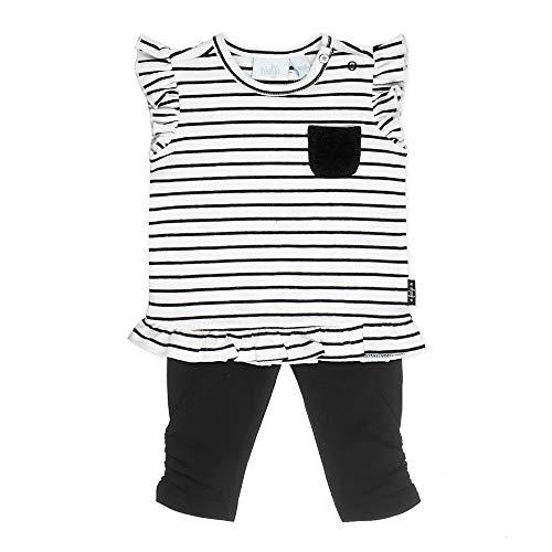 Feetje Baby-Mädchen Kleid mit Legging, Weiss-schwarz, 68 (Und Für Mädchen Schwarz Weiß-kleider)